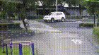 This car bouncing over a cyclist