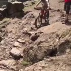 Riding your mountain bike down some mountain steps