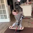 6 year old shows off her balance and puck handling skills.