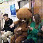 Bear tricks asian girl on subway