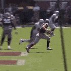Mississippi State quarterback does a helicopter.