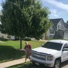Old man freaks out over a truck parked outside his house, hits concrete company truck with a hammer then falls into wet concrete