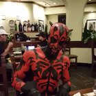 Darth Maul giving in to the darkside of the cheesecake