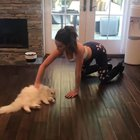 Kate Beckinsale on all fours playing with her kitty.