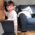 This kid meeting his newborn sister for the first time