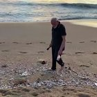 PM Narendra Modi cleaning the beach at Mamallapuram this morning.