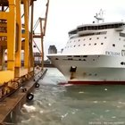 Ferry crashes into a loading dock in Barcelona causing a fire