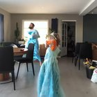 His son wanted to dance to Frozen songs, so dad put on an Elsa costume and danced with him