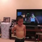 This kid impersonating his favorite movie