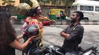 Guy dressed up as Yama (God of death), stopping all the bikers who were not wearing helmets and giving them one for free.