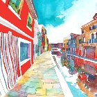 360 panorama of Burano, Italy, watercolor and digital, 640x640px