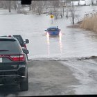 Idiot tried driving down a flooded road