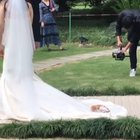 Wandering cat decides to crash a wedding