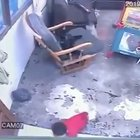 Cat saves baby that escaped from her crib from falling down steep stairs....